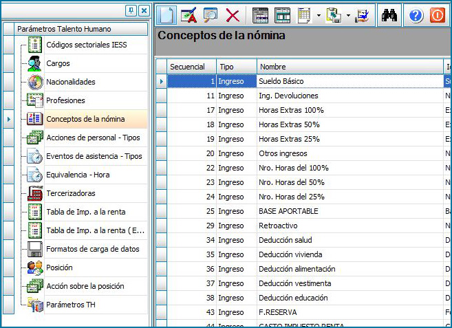 Parámetros de sistema administrativo fianciero